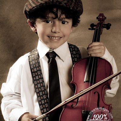 fotografía infantil violinista