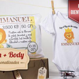 Kit Recién Nacido Personalizado (Body+cojín 30 x30 cm)